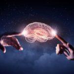2 hands touching brain